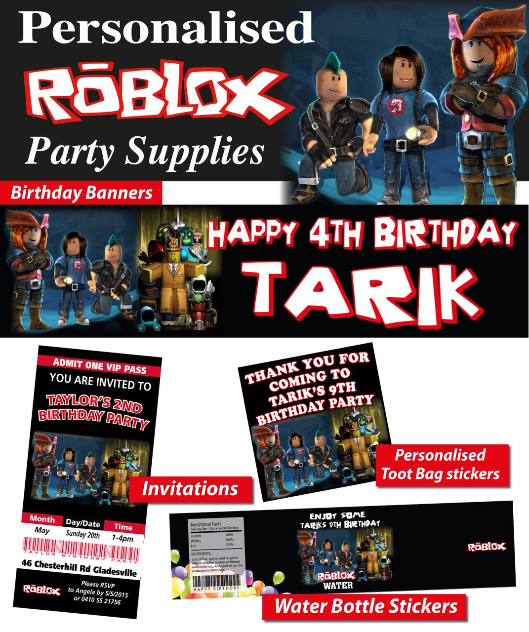 Personalised Roblox Birthday Party Banner Decorations Free Shipping Birthday Party Banner Party Banner Personalized Party Banner