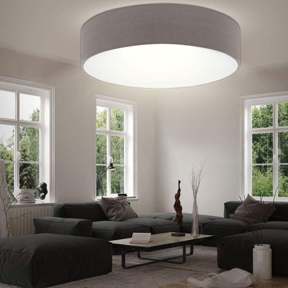 LED Textil Decken Leuchte Wohn Schlaf Zimmer Beleuchtung Rund Stoff Lampe Braun