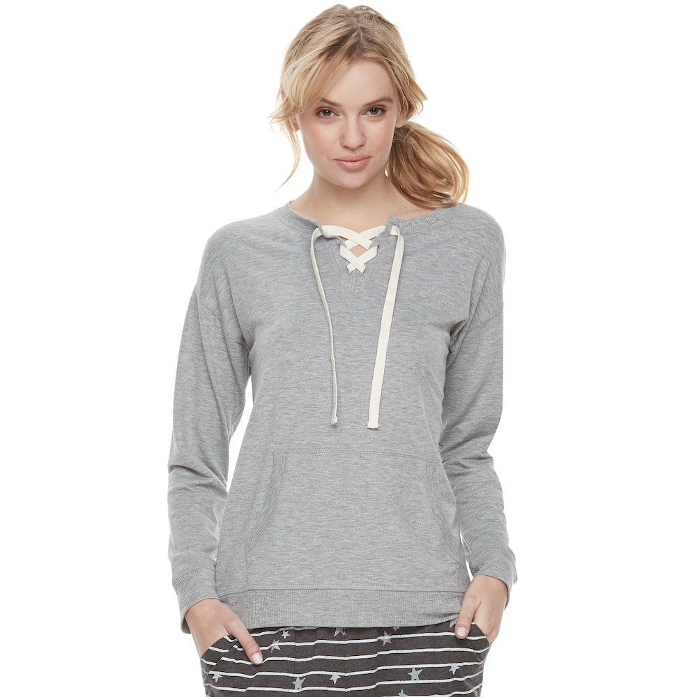 "adb1405f1 Women's SONOMA Goods for Lifeâ""¢ Pajamas: Lace-up Sweatshirt, Med Grey"