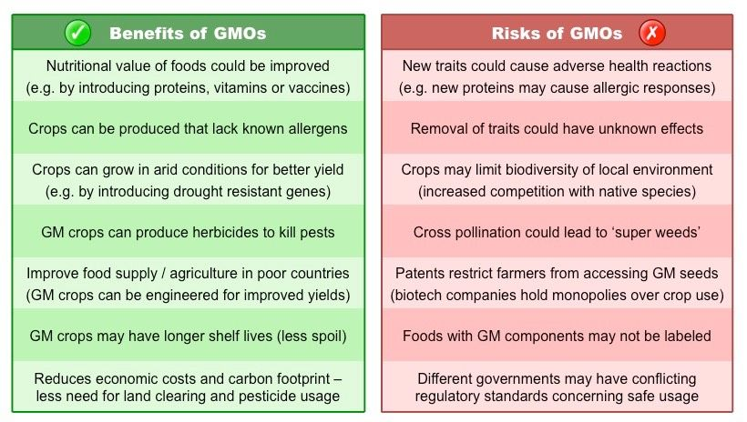 Here Ae Some Pros And Cons About Gmos Nutritional Value Of Food