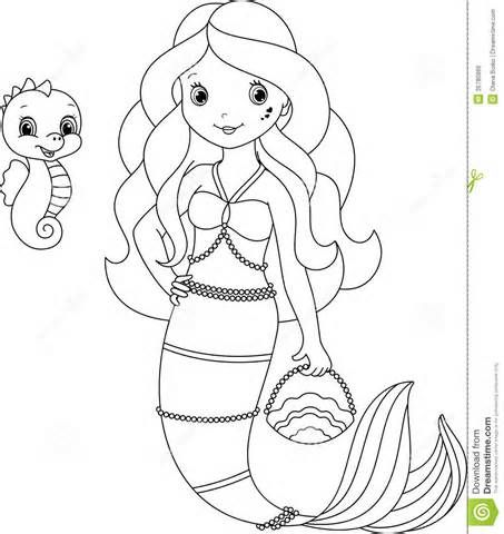 mermaid coloring page royalty free stock image image 36780866 - Free Mermaid Coloring Pages