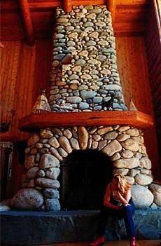 River Stone Fireplace river stone fireplace   fireplaces   pinterest   river stones