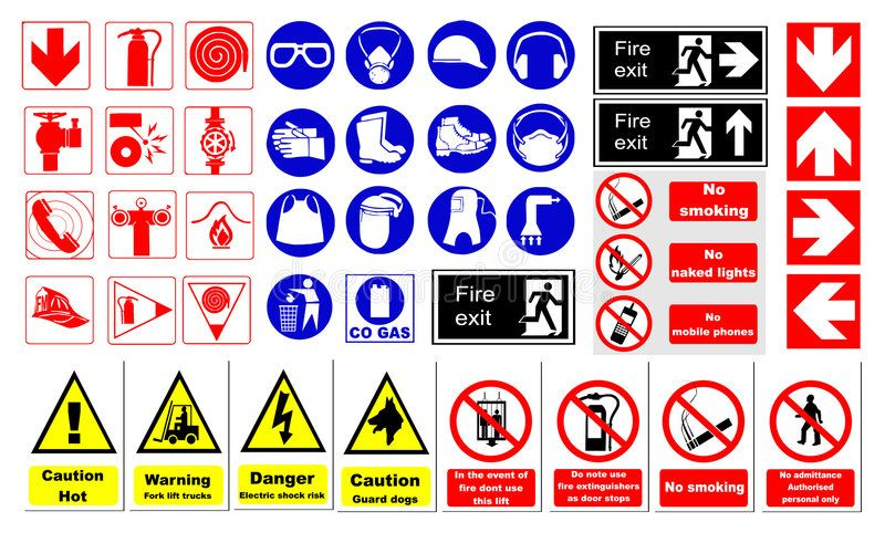 Safety signs. Vector illustration on white background ,