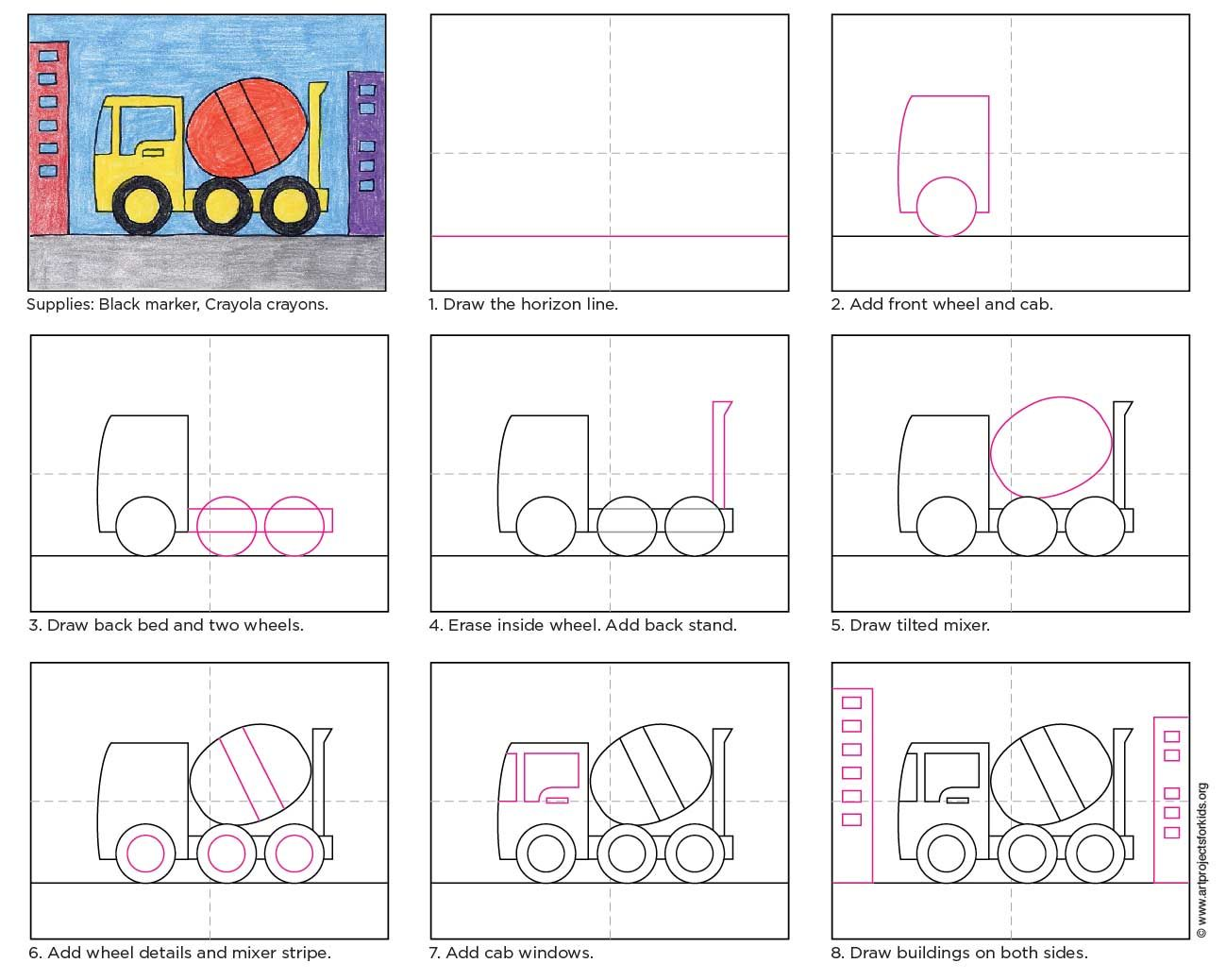 Bathroom drawing for kids - Cement Truck
