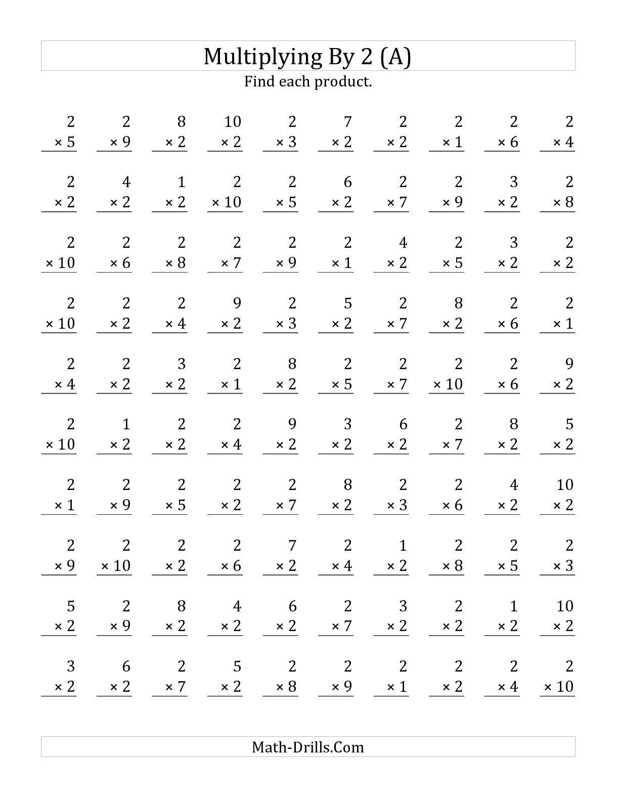 The Multiplying 1 To 10 By 2 A Math Worksheet From The Multiplication Facts Worksheets Page