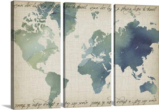 Watercolor World Map #worldmapmural Watercolor World Map #worldmapmural