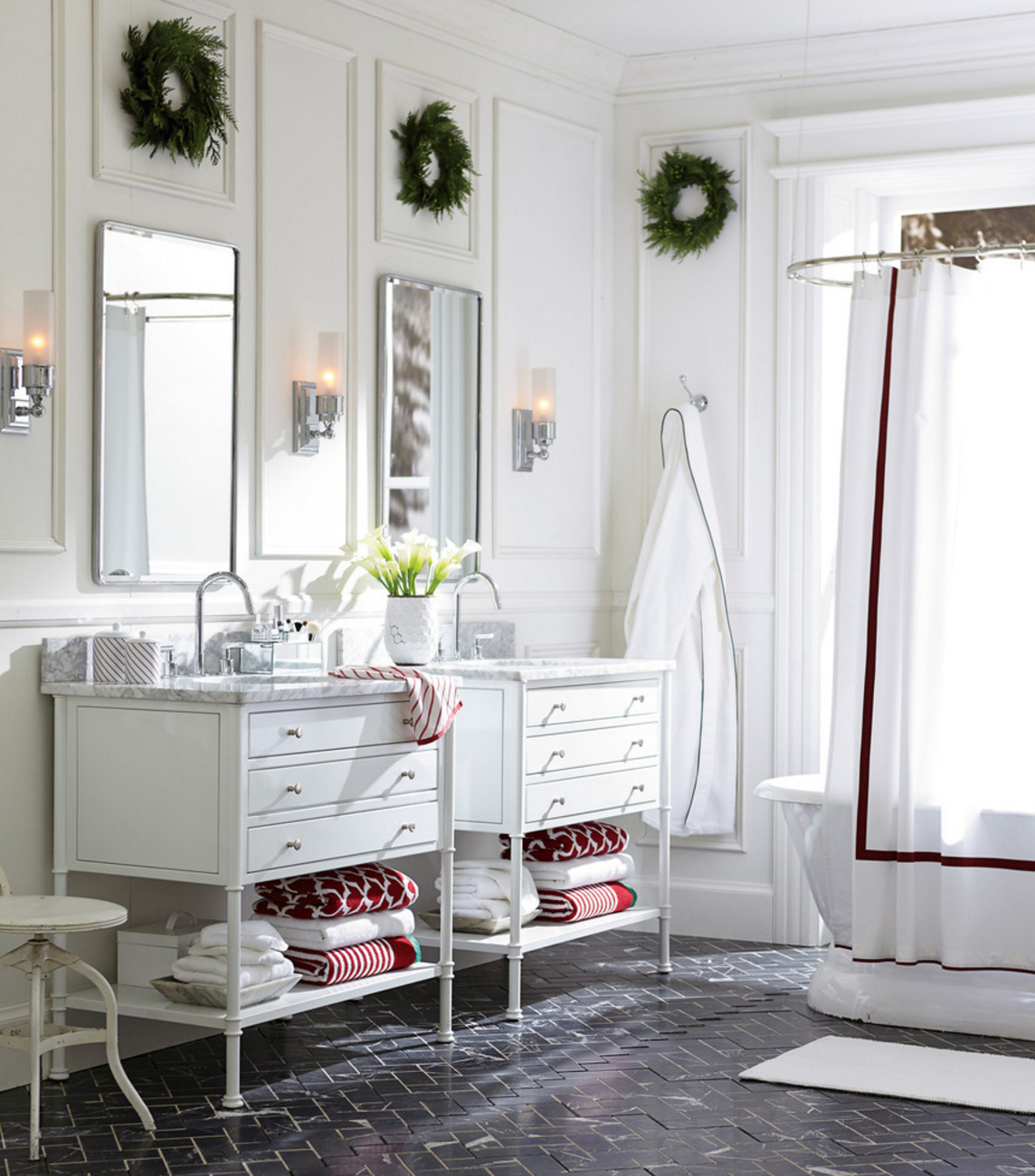 Using lighter colors can help a small bathroom seem larger ...