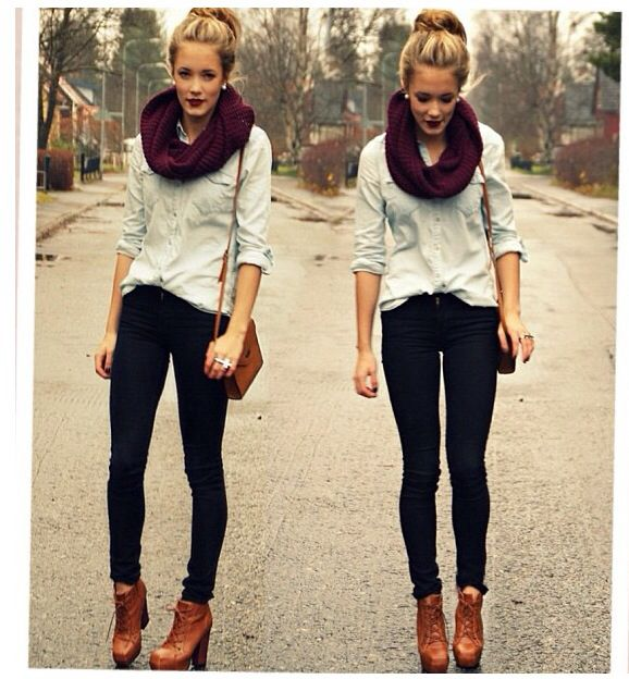 I Love A Maroon Scarf... One Of My Favorite Things In The World! And This Outfit Is Really SUPER Cute!