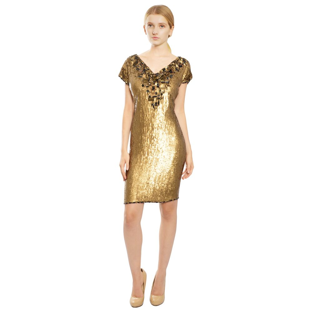 Escada Gold Fully Sequins Short Sleeve Cocktail Dress  abdfe6c0f