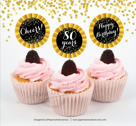 80th Birthday Cupcake Toppers Cheers to 80 years Cupcake Toppers