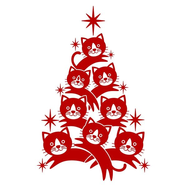Cat Christmas Tree SVG Cuttable Designs Cricut Crafts