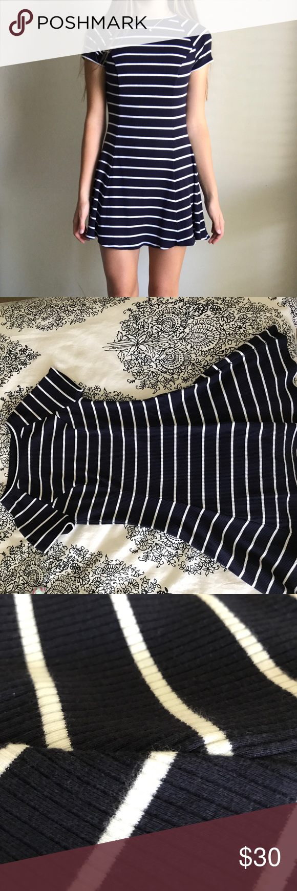 Tshirt dress navy and white striped dress soft material and ribbed
