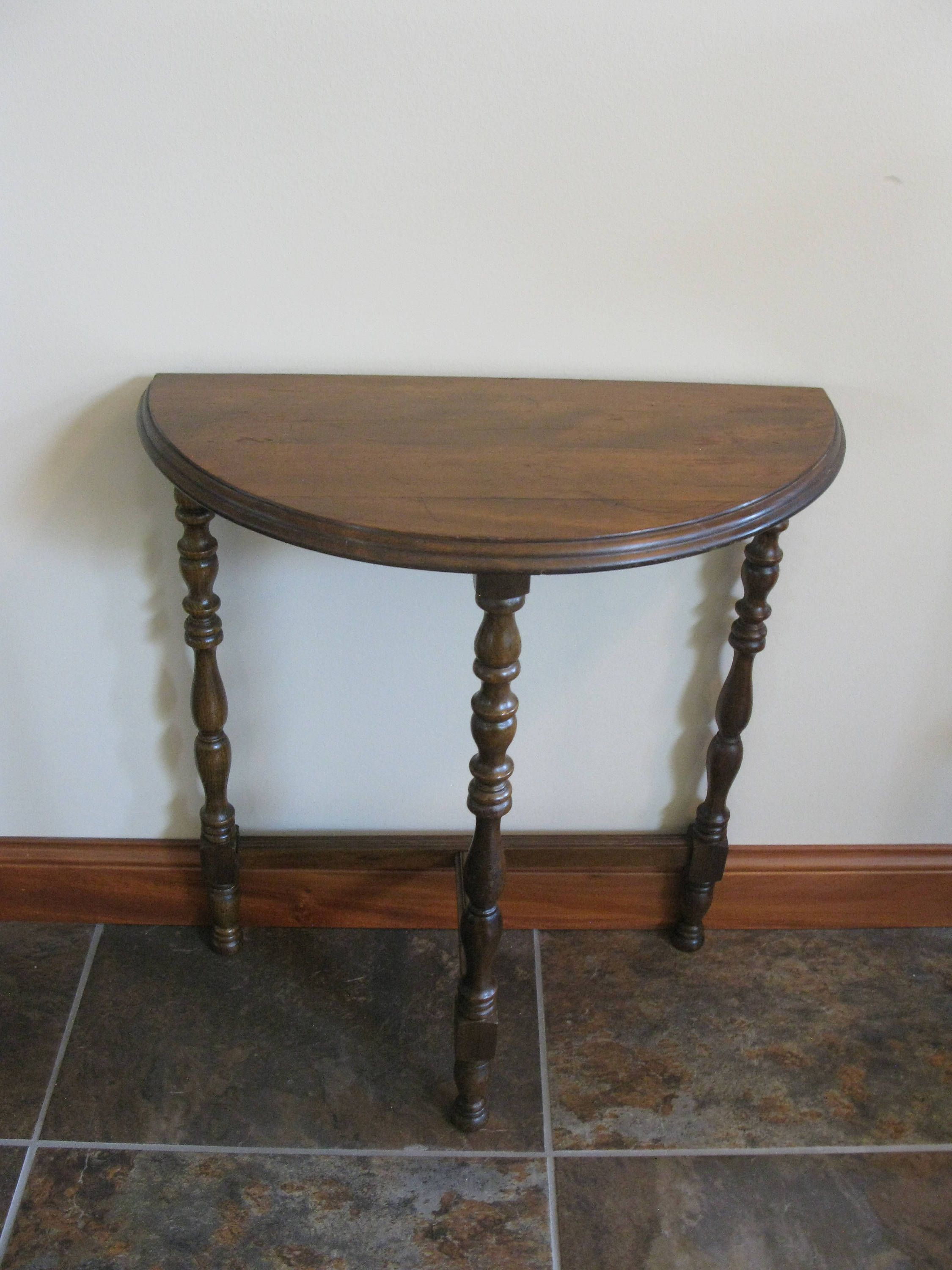 Vintage Half Moon side table -3 legged table -small wood ...