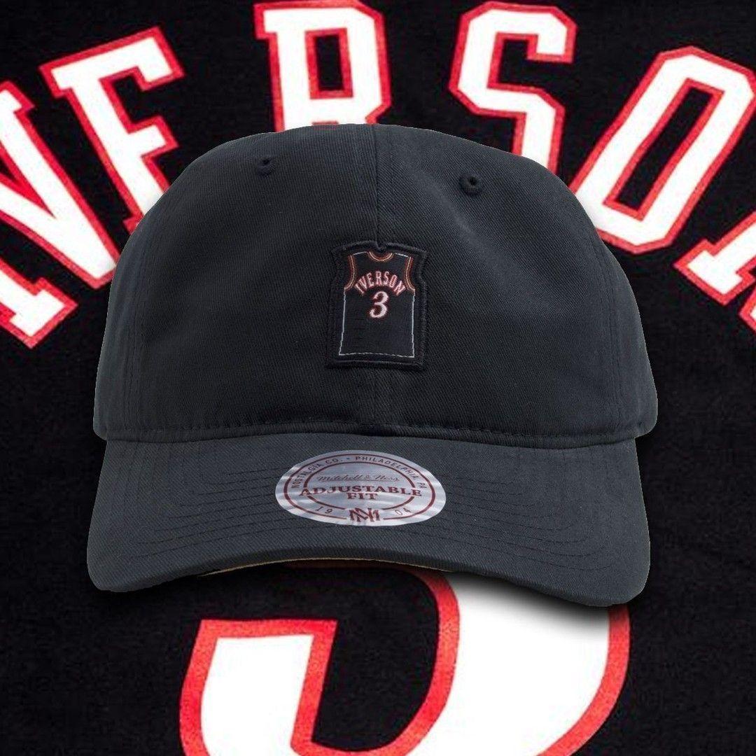 buy online 6ded4 09907 Allen Iverson Philadelphia 76ers Black Jersey Dad Hat ...