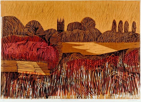 Lino cut and collograph print. Cuckmere Valley