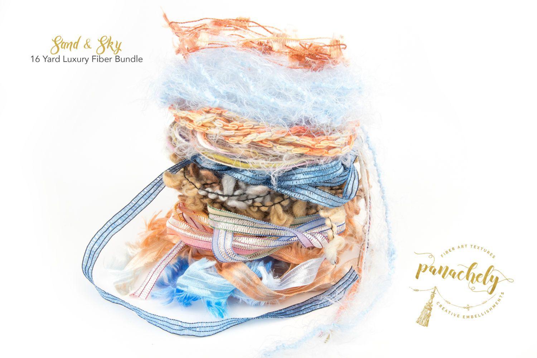 Sand & Sky Fiber Art Yarn. 16 Yard Novelty Yarn, Ribbon and Art Fiber Bundle. by Panachely on Etsy