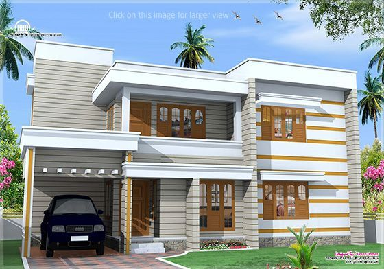 Flat Roof House Exterior In 1850 Kerala Home