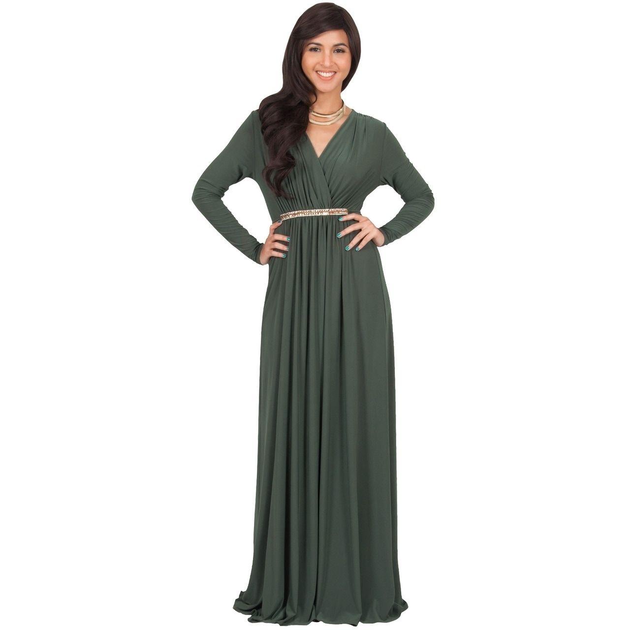Koh koh womenus long sleeve caftan maxi dress with glamorous belt