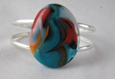 Handmade Fused Custom Artglass Cuff Style Bracelet from DichroicAdventures.com