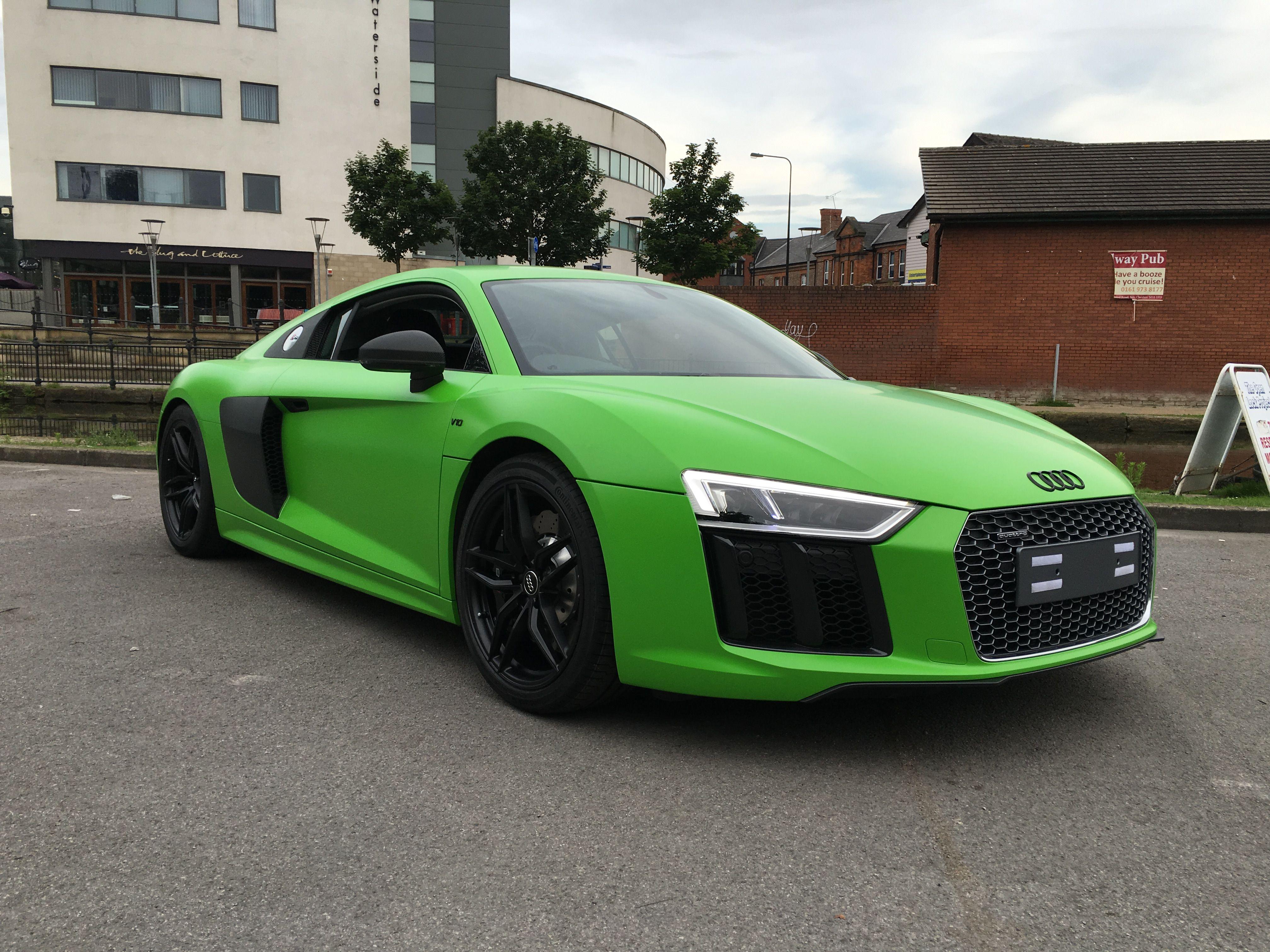 Car wrap for Stockport Audi Audi R8 v10 in 3M Satin Apple Green