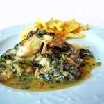 Fish fillet on egg-lemon sauce