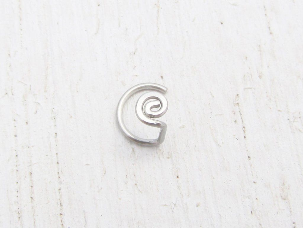 Messed up nose piercing  Stainless Steel Spiral Nose Screw for the Left Side   Gauge