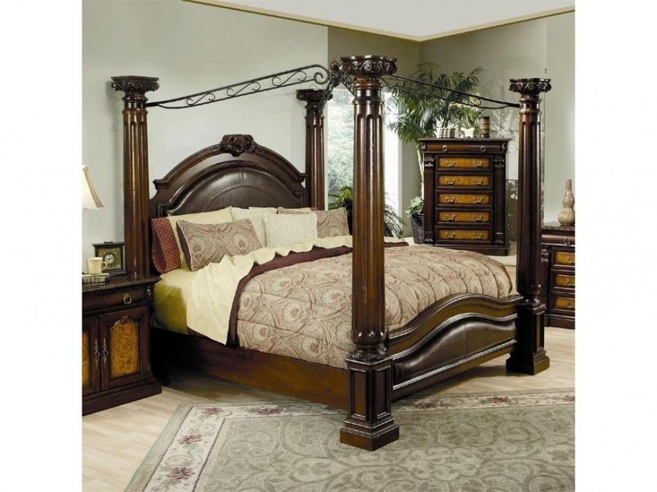 king size wood metal canopy bed frame including dark brown leather headboard and light brown flower - Metal Canopy Bed Frame