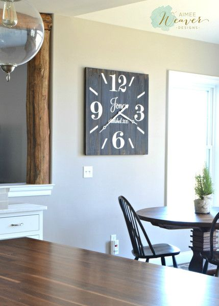 Large Square Wood Clock {customizable} | Wooden Signs ...