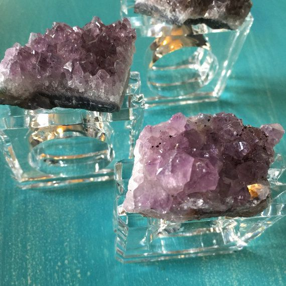 Amethyst Druze & Lucite Napkin Rings // Clear by RoyalSuzieJewelry