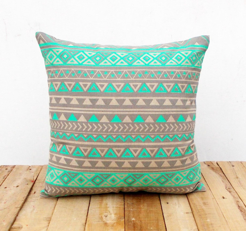 Mint throw pillow cover printed aztec geometrical linen pillow