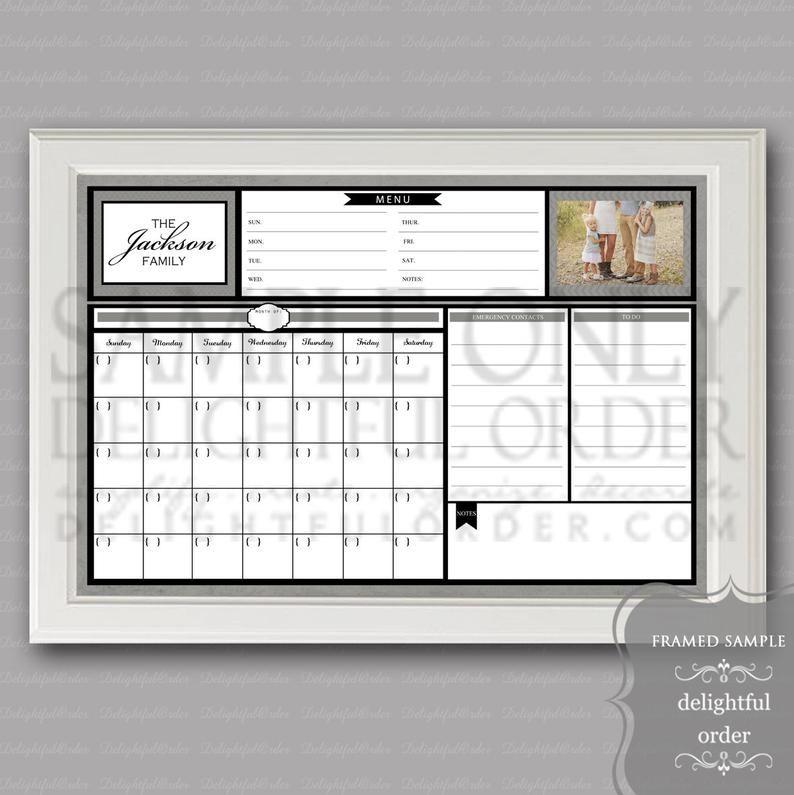 Digital dry erase calendar 20x30 custom gray message