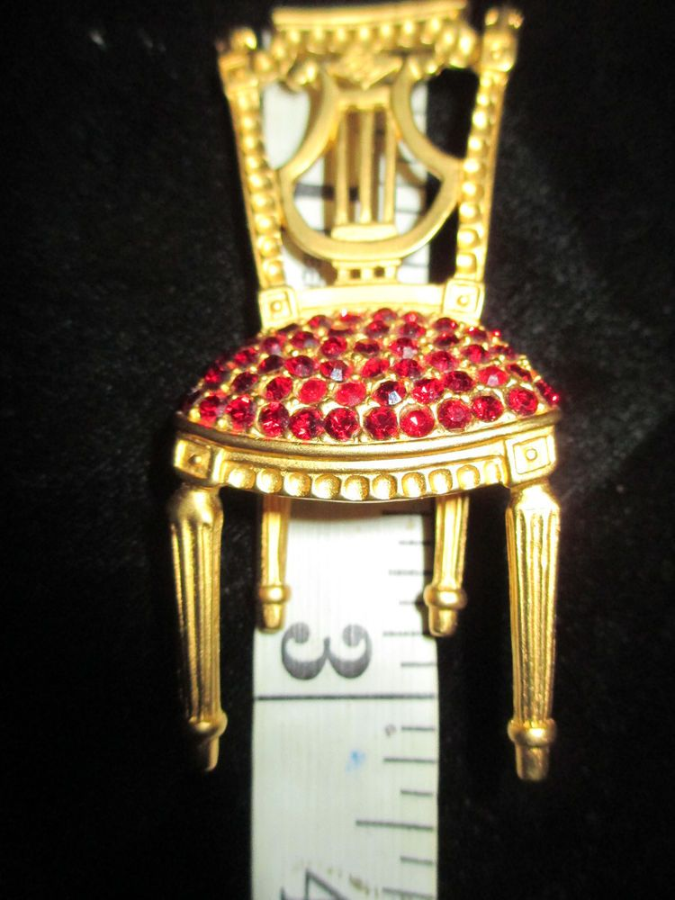5e27922f9601 VINTAGE+KARL+LAGERFELD+GOLD+TONE+WITH+RED+RHINESTONES+LYRE+BACK+CHAIR+BROOCH+#KARLLAGERFELD.  Find this Pin ...