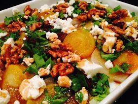 """Mina matminnen: Ljummen """"rödbetssallad"""" med rostade valnötter, chevre och sirapsvinägrett"""