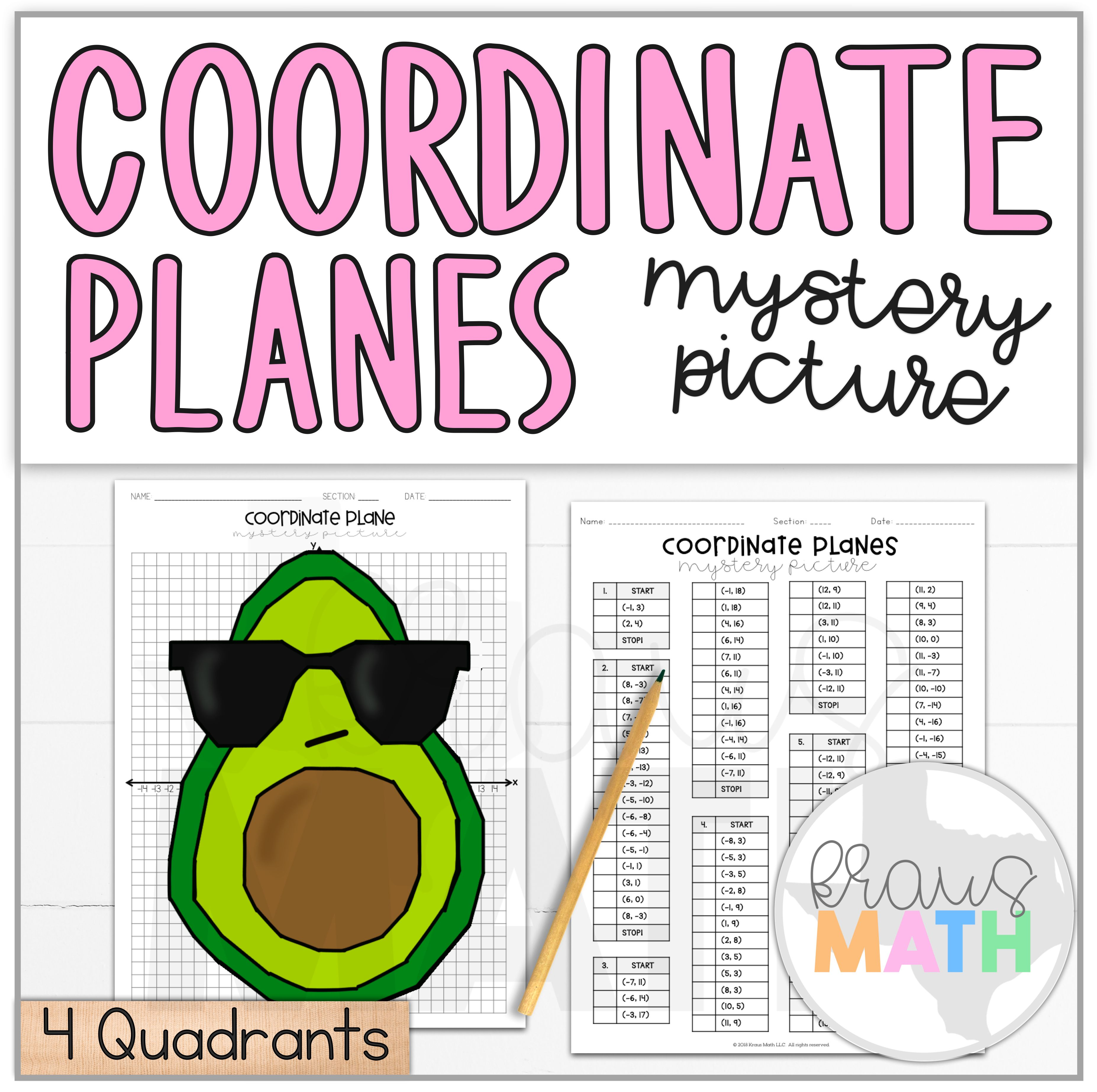 Avocado In Sunglasses Coordinate Plane Activity 4
