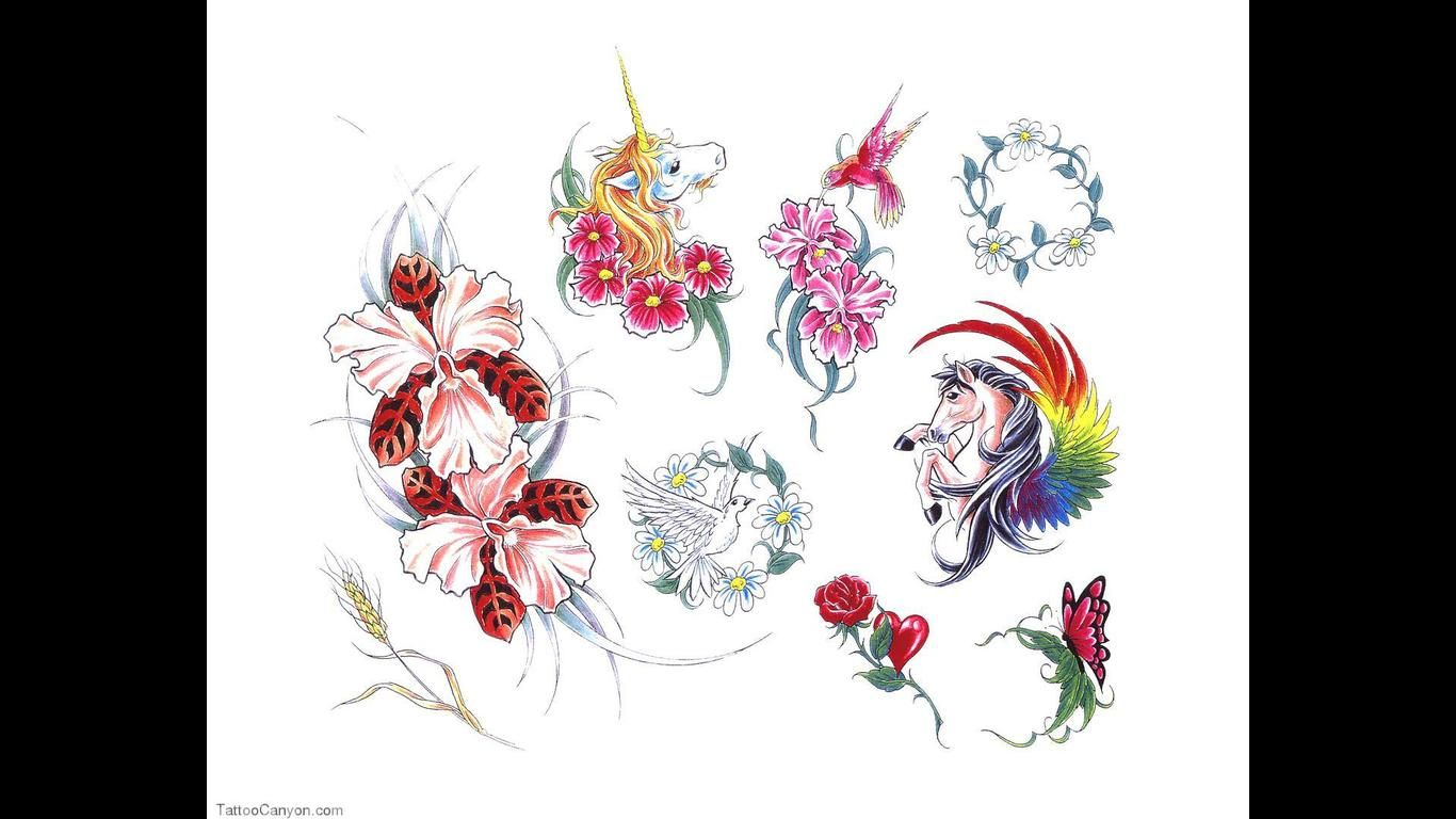 1995 Tattoo Design: Horse Bird Butterfly Rose Flowers Tattoo Pictures Latest