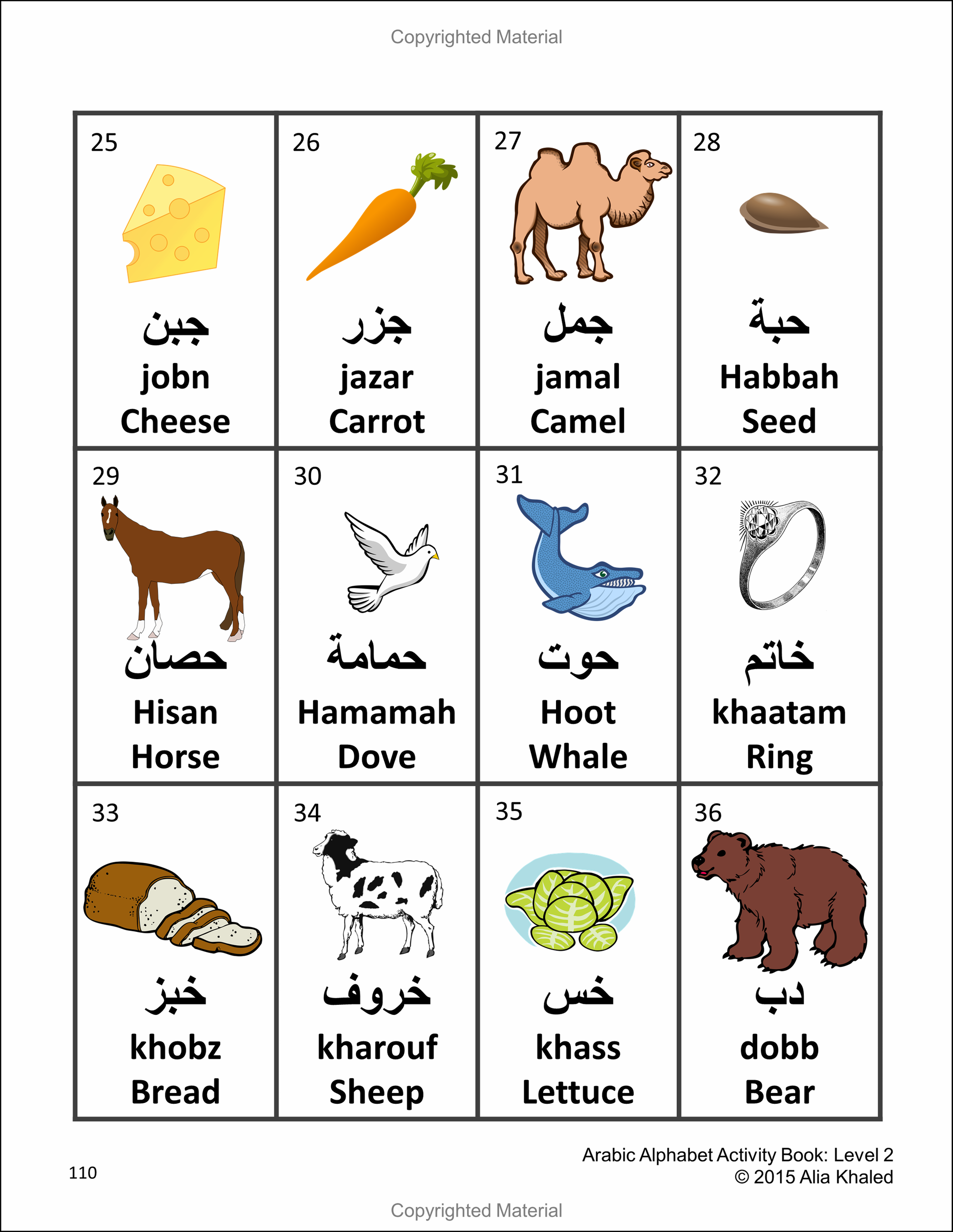 Arabic Alphabet Activity Book Level 2 Colored Edition