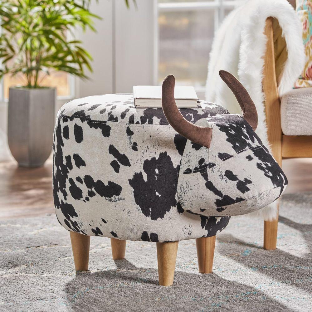 Excellent Details About Bessie Velvet Fabric Cow Pouf Ottoman Foot Dailytribune Chair Design For Home Dailytribuneorg