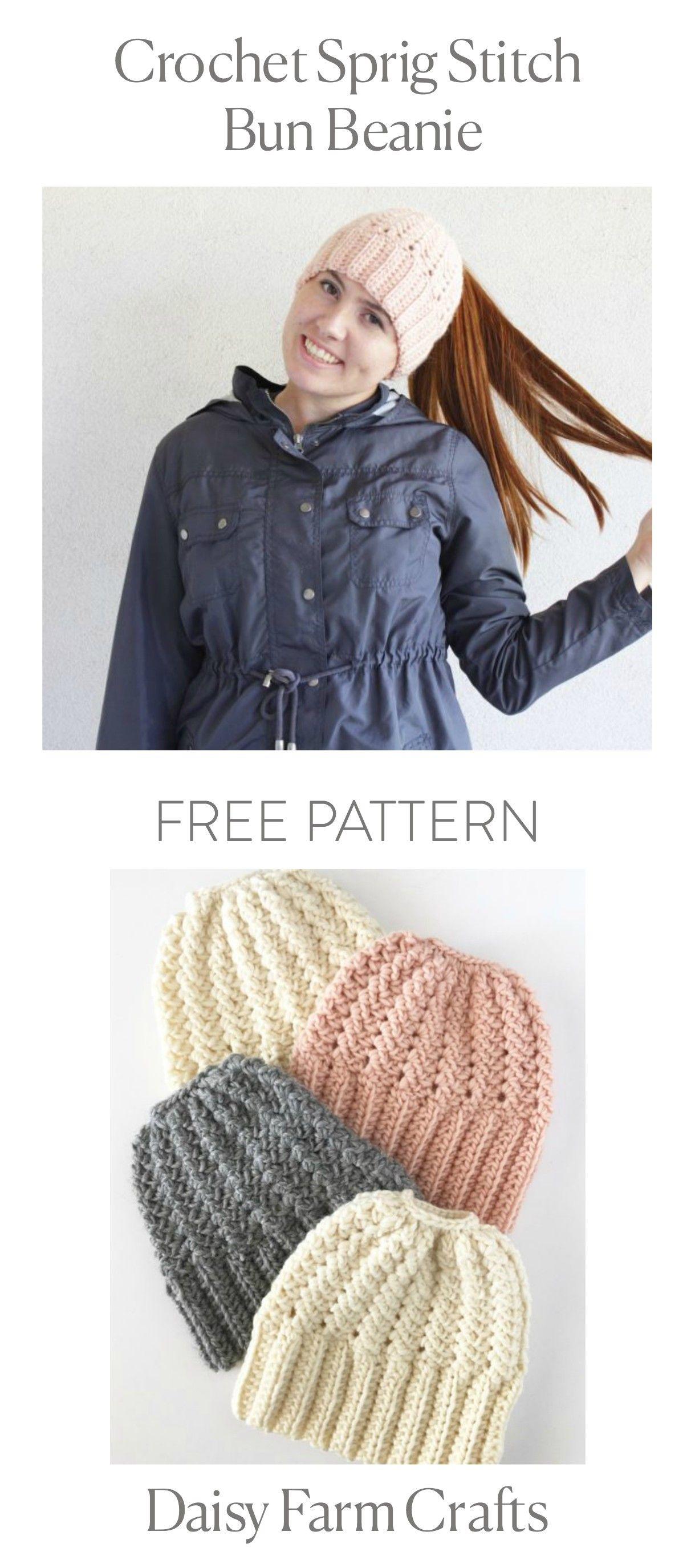 FREE PATTERN - Crochet Sprig Stitch Bun Beanie | jabsbzksbakana ...