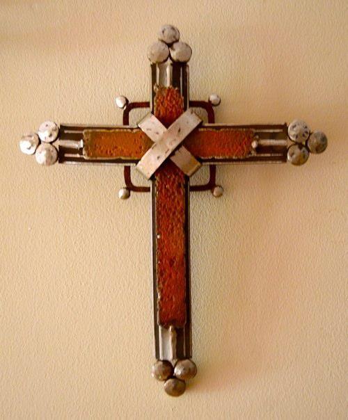 Scrap metal cross by Birmingham metal artist Catherine Partain ...
