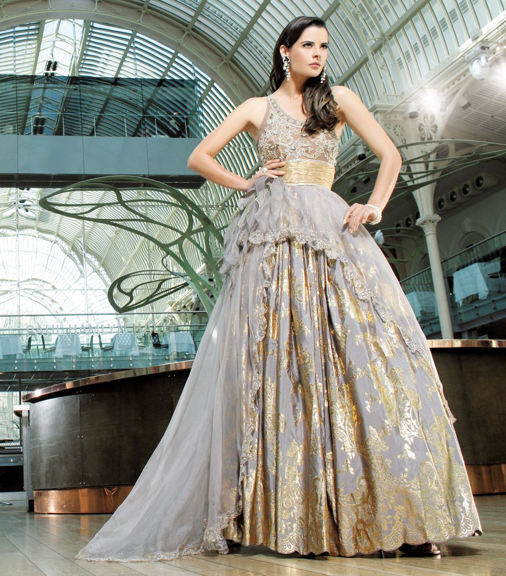 Grey and Gold Indian gown Love the color combo but maybe if it was ...