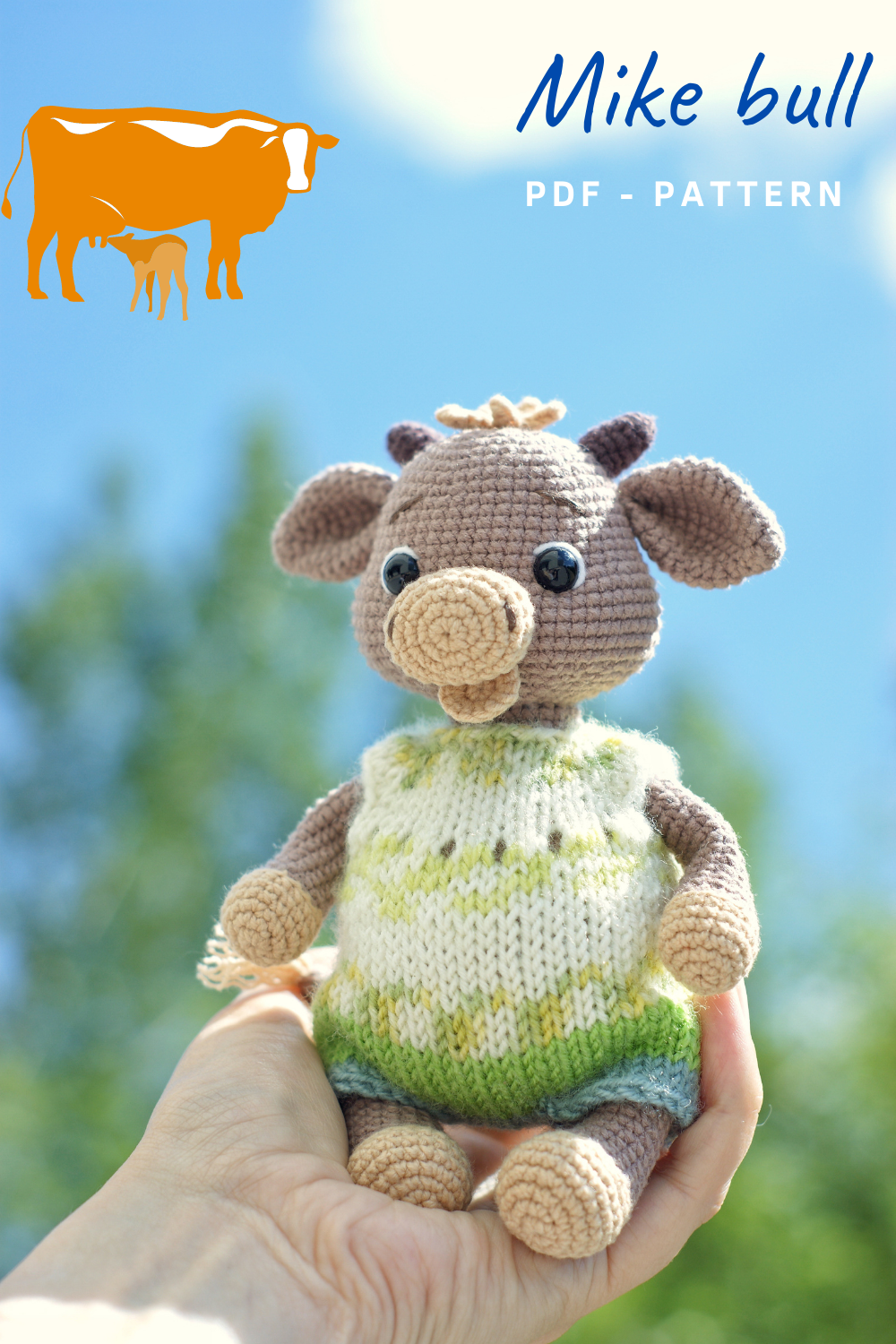 Mike bull - Amigurumi crochet pattern (English only). PDF pattern, instant download.