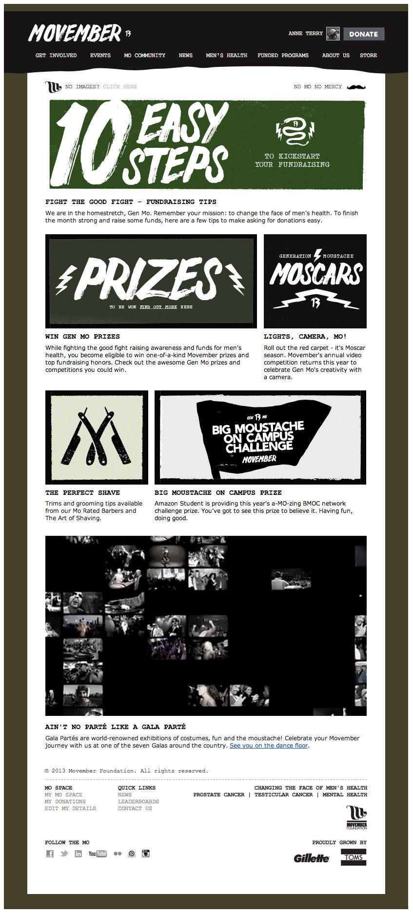 bf5f77496fe Movember embedded a video clip with scenes from Movember Gala parties  directly into this email campaign (above