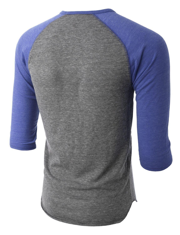 801c4c12422 PREMIUM Mens Slim Fit Raglan 3 4 Sleeve Baseball Button Henley Shirt ...