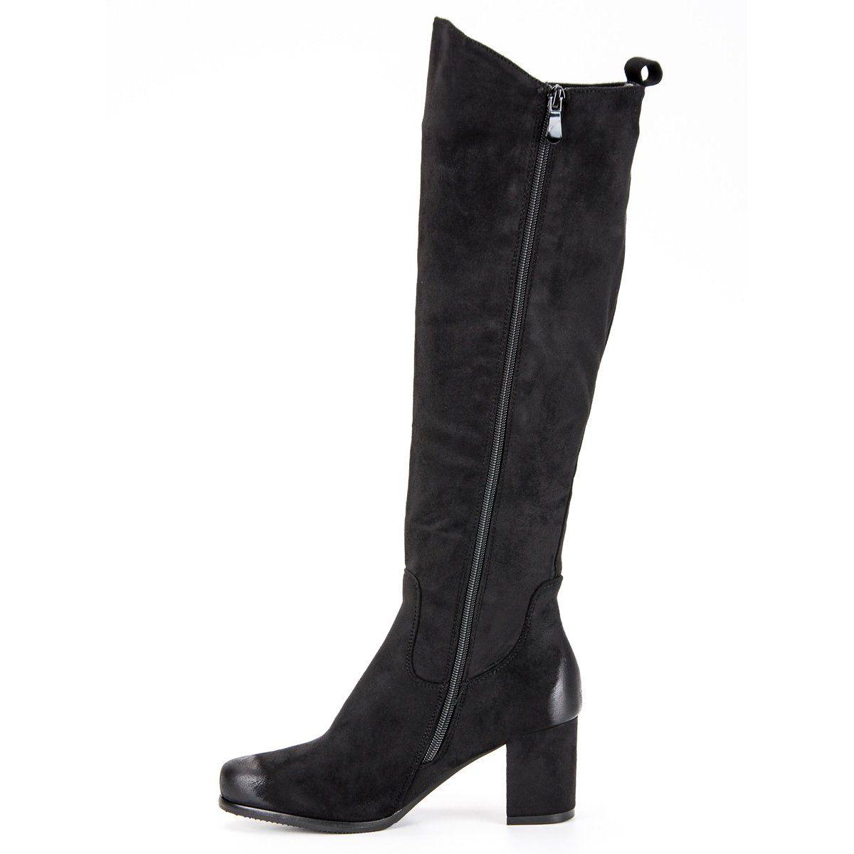 3f8622ef Czarne Wygodne Kozaki Na Obcasie VINCEZA | Kozaki damskie | Boots ...