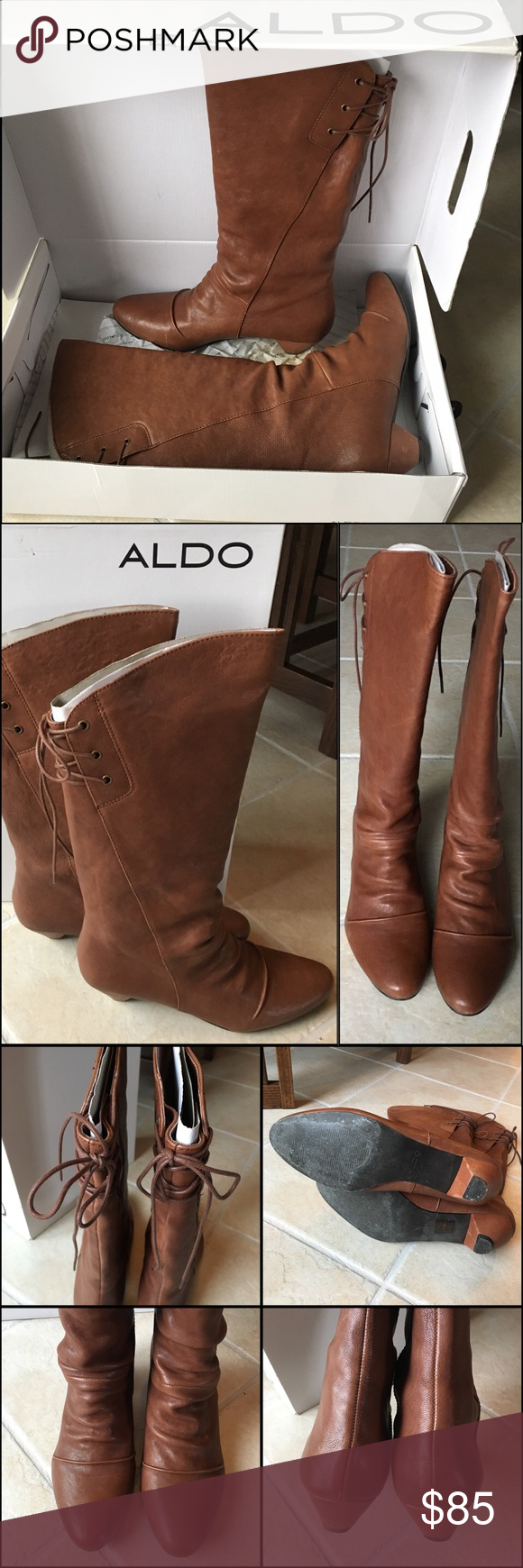 ALDO tall boots ALDO boots... gently used. Brown leather. size 40. Aldo Shoes Heeled Boots