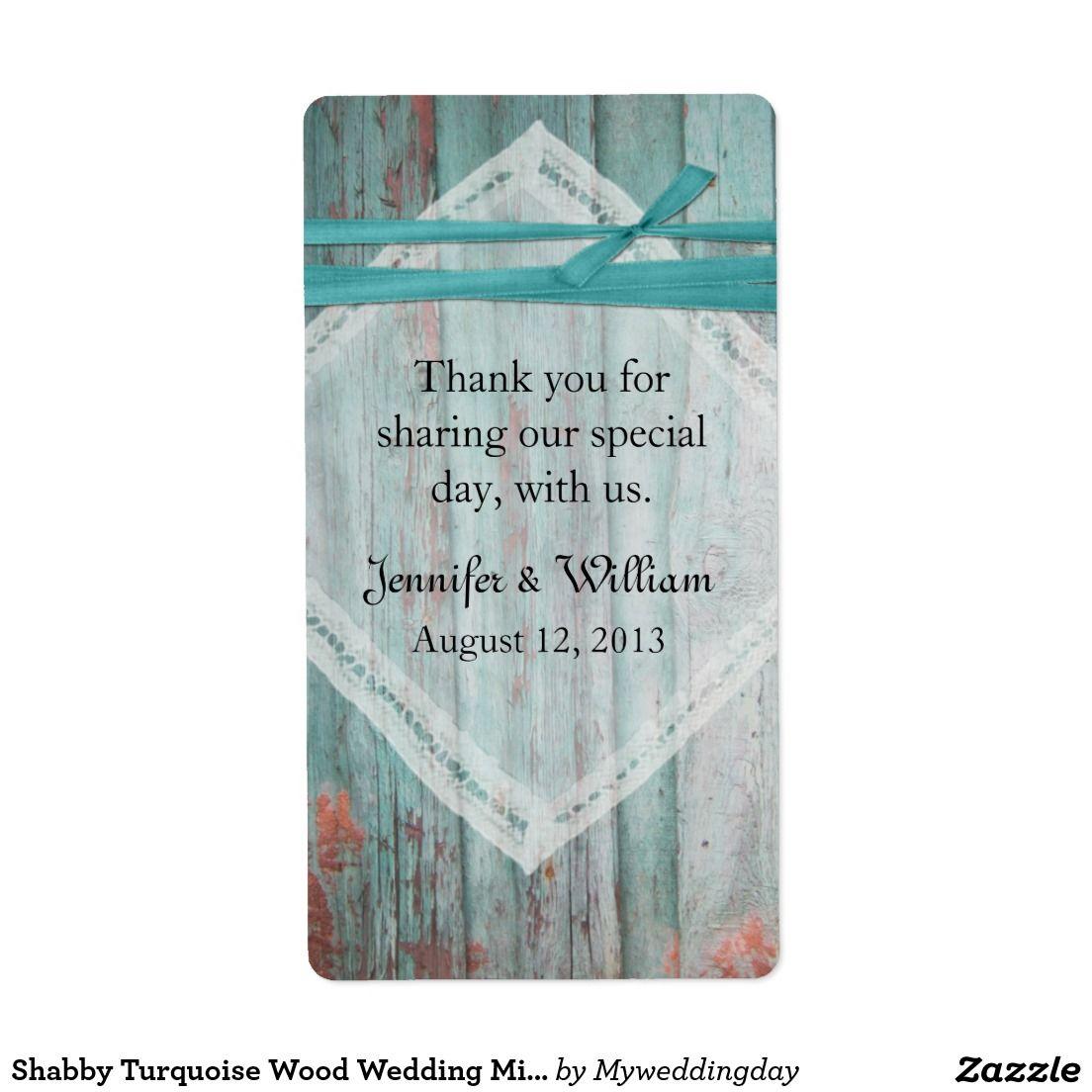 Shabby Turquoise Wood Wedding Mini Wine Label Shipping Label ...