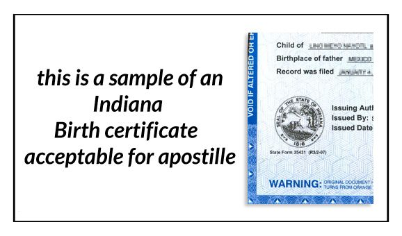 This is a sample of an Indiana birth Certificate acceptable for ...