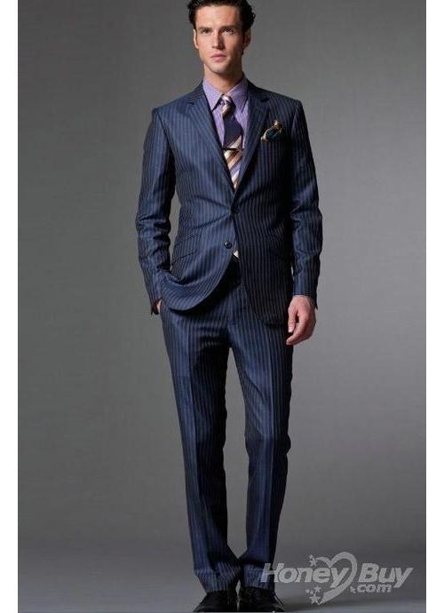 Notch Lapel Navy Stripes Suits For Men