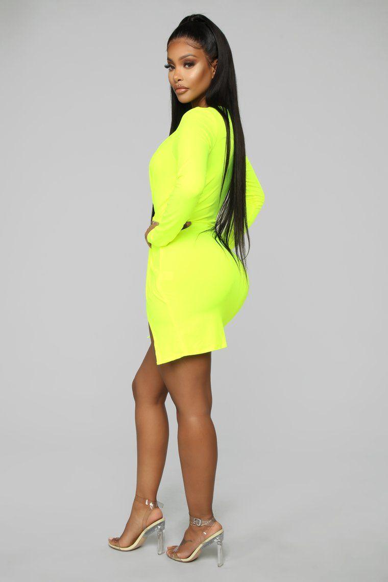 Sugar Frenzy Dress Neon Yellow in 2020 Dresses, Yellow