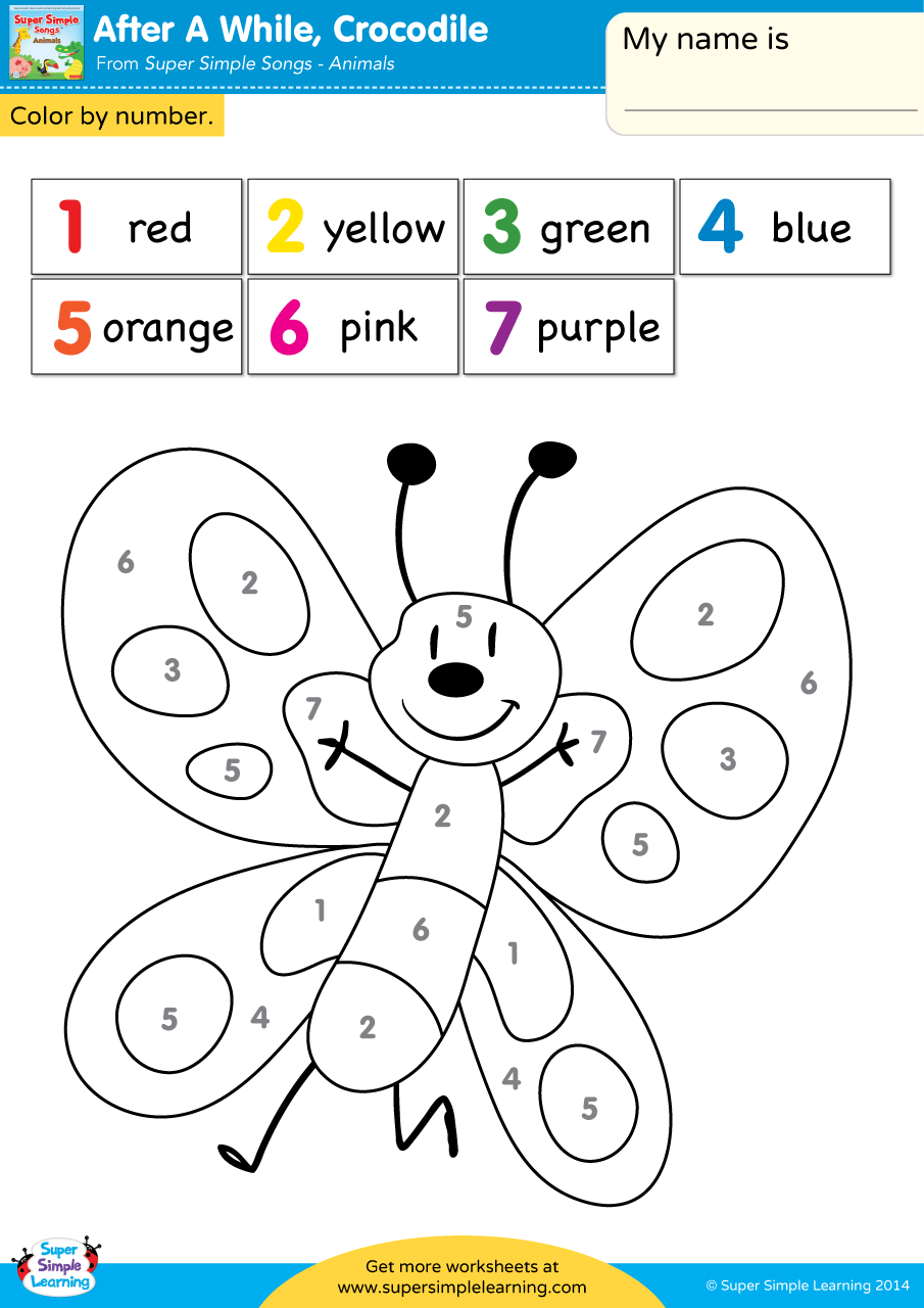 After A While Crocodile Worksheet Color By Number Super Simple Coloring Worksheets For Kindergarten Numbers For Kids Color Worksheets For Preschool [ 1280 x 905 Pixel ]